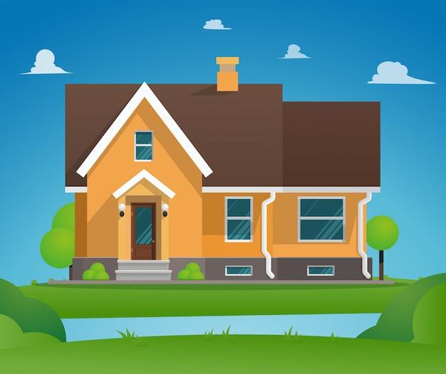 Maison De Ville Résidentielle Vecteur gratuit