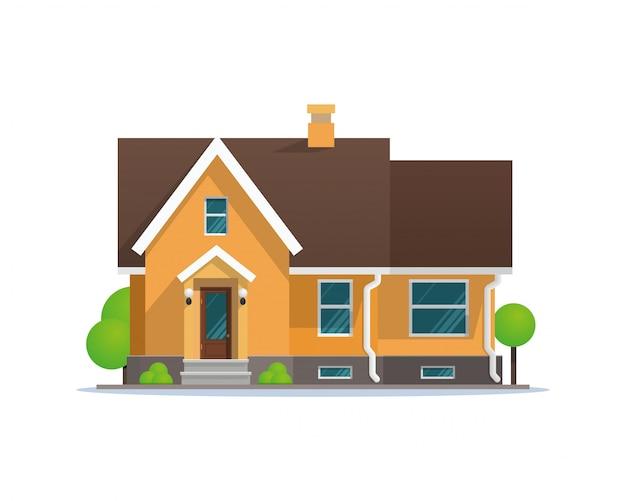 Maison de ville résidentielle Vecteur Premium