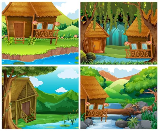 Maisons en bois en forêt Vecteur gratuit