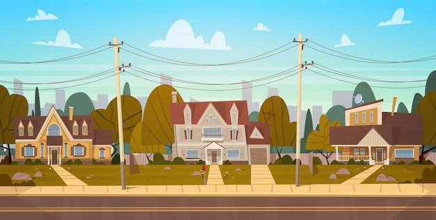 Maisons Dans La Banlieue De La Grande Ville En été, Cottage Real Estates Cute Town Concept Vecteur Premium