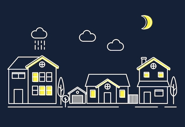 Maisons dans la nuit Vecteur gratuit
