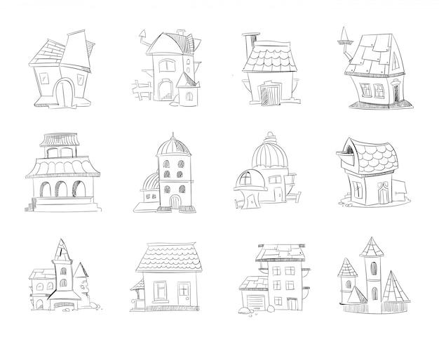 Maisons dessinées à la main Vecteur Premium