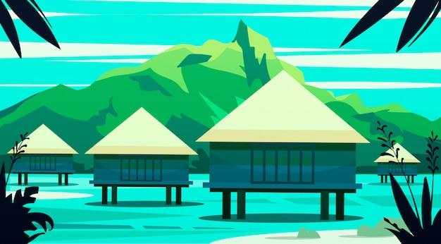Maisons Sur L'eau, Les îles Maldives Et Bali. Illustration. Vecteur Premium