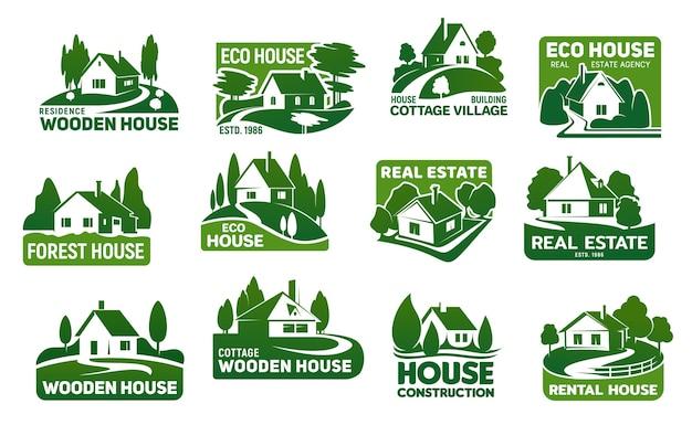 Maisons écologiques En Bois, Icônes De Bâtiments Immobiliers. Vecteur Premium