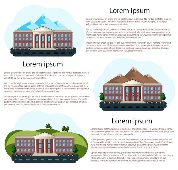 Maisons avec espace de texte Vecteur Premium