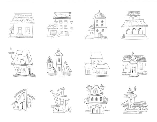Maisons mignonnes dessinées à la main avec des fenêtres Vecteur Premium