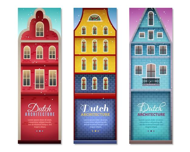 Les maisons néerlandaises voyagent des bannières verticales Vecteur gratuit