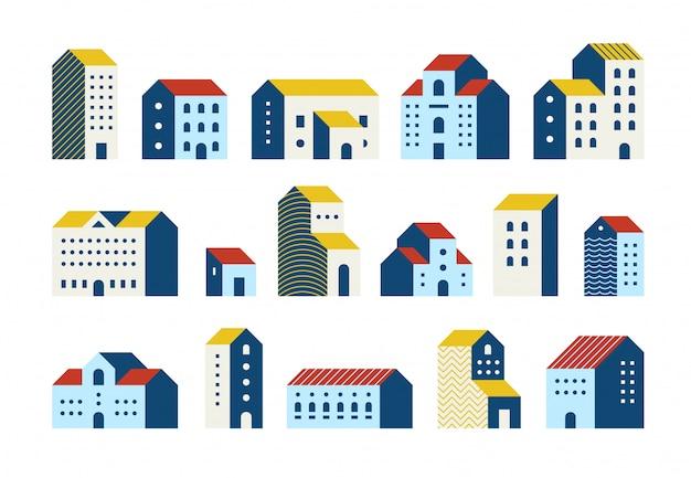 Maisons Plates Minimales. Ensemble De Dessin Animé De Bâtiments Géométriques Simples, Ensemble Graphique De Maisons De Ville De Ville Urbaine. Vecteur Premium