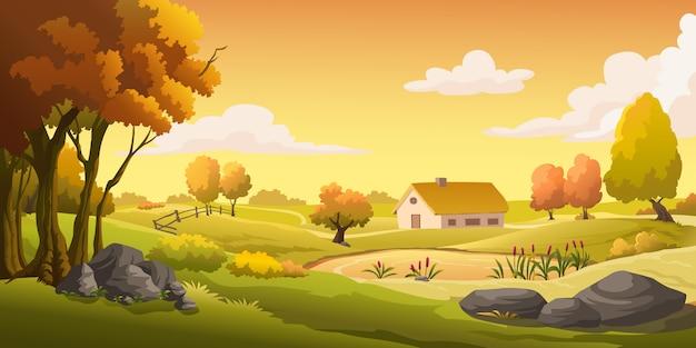 Maisons et prairies sur la colline au coucher du soleil. Vecteur Premium