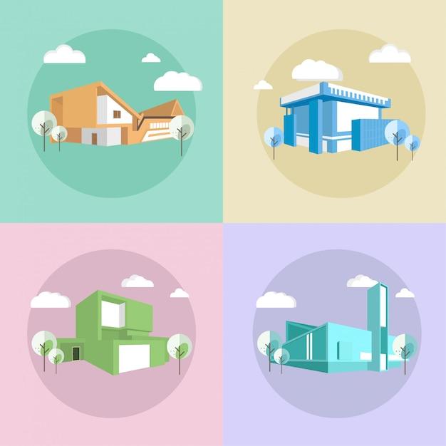 Maisons de ville modernes Vecteur Premium