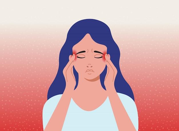 Mal De Crâne. La Femme Ayant Des Maux De Tête, Des Migraines. Illustration De Dessin Animé. Vecteur Premium