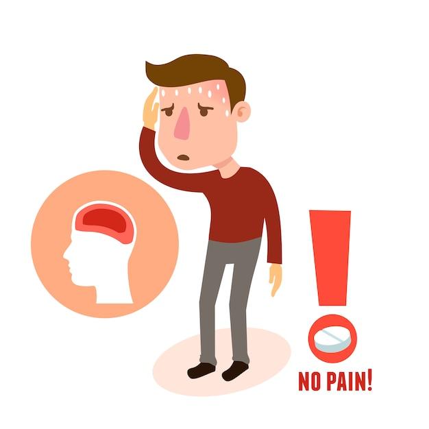 Mal de tête de caractère malade Vecteur gratuit
