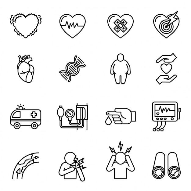 Maladie Cardiaque, Crise Cardiaque Et Jeu D'icônes De Symptômes. Vecteur Premium