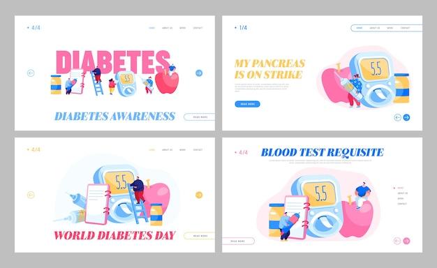 Maladie Du Diabète, Testeur De Glucose, Ensemble De Modèles De Page De Destination Pour Le Contrôle De L'insuline Vecteur Premium