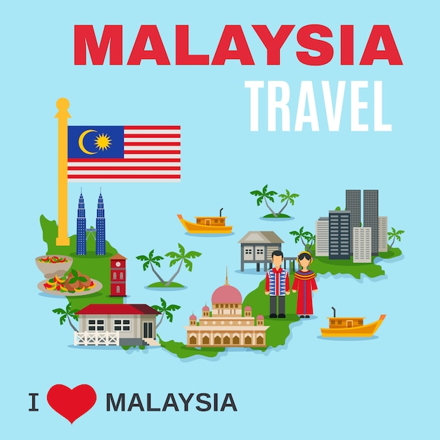 Malaisie culture agence de voyage flat poster Vecteur gratuit