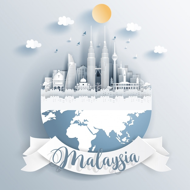 Malaisie points de repère sur la terre Vecteur Premium