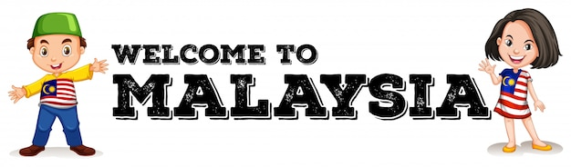 Malaisien, garçon, fille, à, salutation, signe Vecteur gratuit