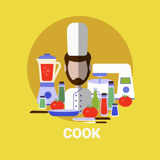 Male cook cooking meal profile avatar icon Vecteur Premium