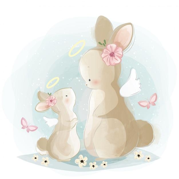 Maman angélique et bébé lapin Vecteur Premium