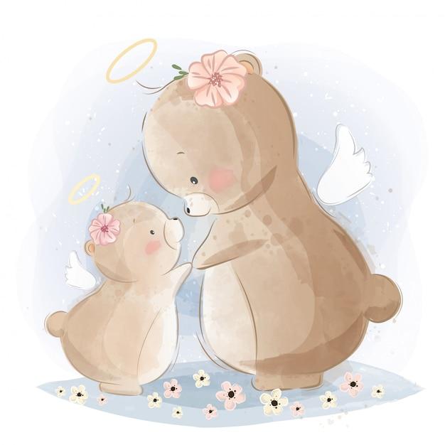 Maman angélique et bébé ours Vecteur Premium
