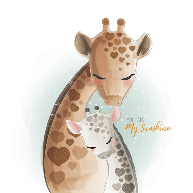 Maman et bébé girafe - tu es mon rayon de soleil Vecteur Premium