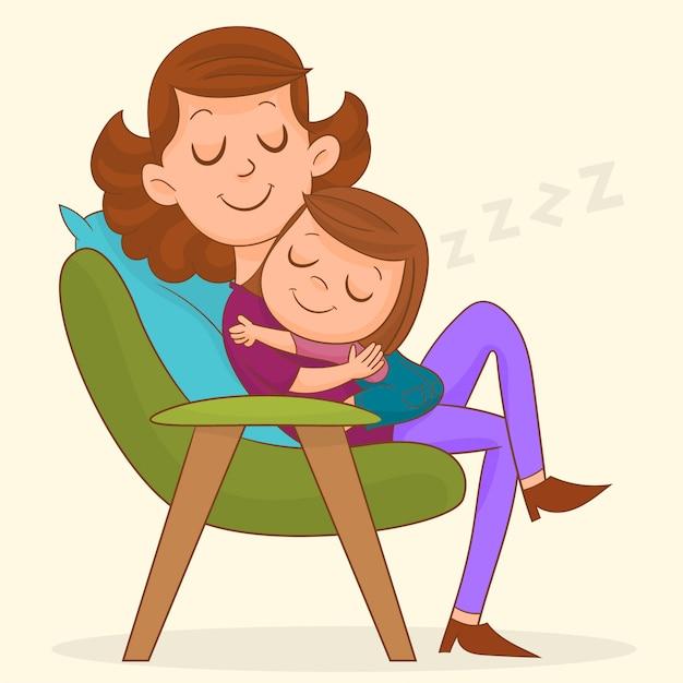 Maman et bébé Vecteur Premium