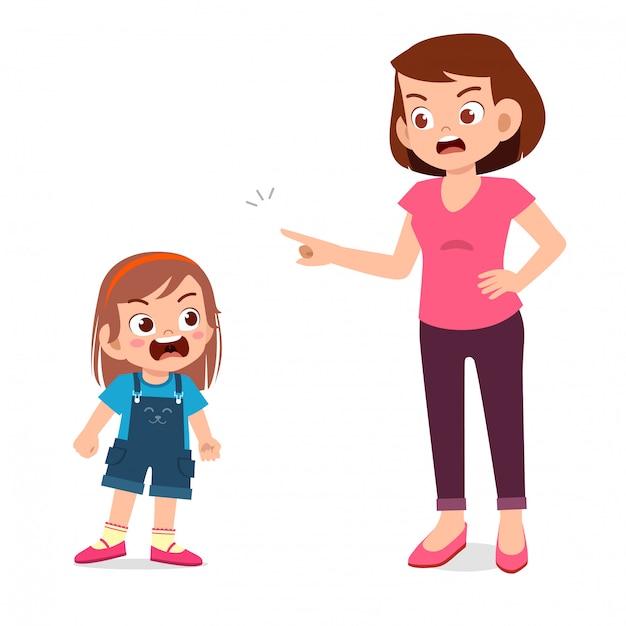 Maman Essaie De Parler Avec Son Enfant En Colère Vecteur Premium