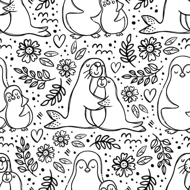 Maman Et Fille étreignant Les Animaux Marins Mignons étreignent Leurs Enfants Relation Parentale Monochrome Motif Transparent Dessiné à La Main Vecteur Premium