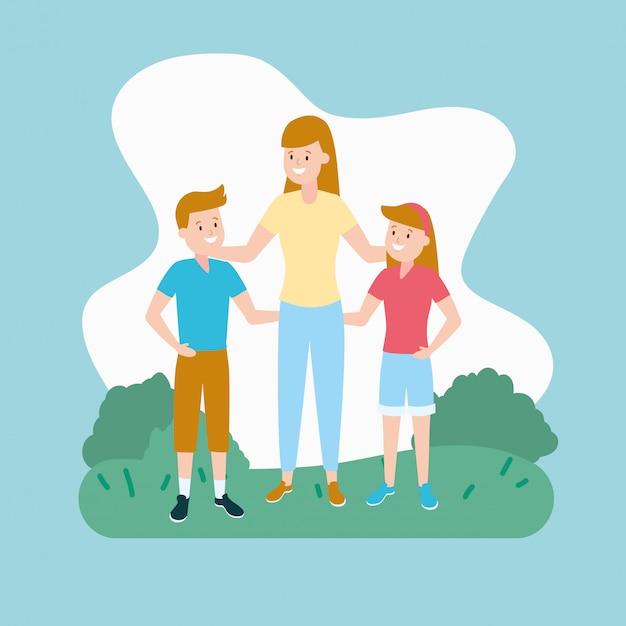 Maman avec fils et fille Vecteur gratuit