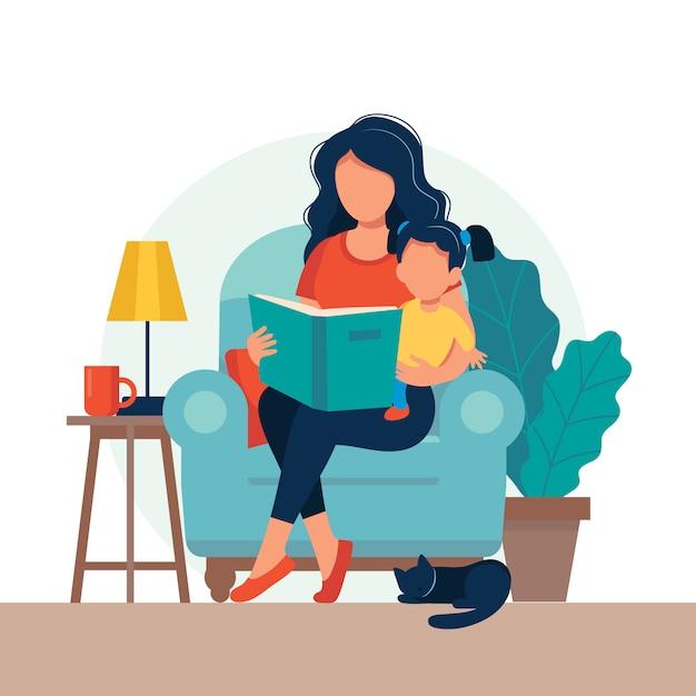 Maman lit pour enfant. famille assise sur la chaise avec un livre. Vecteur Premium