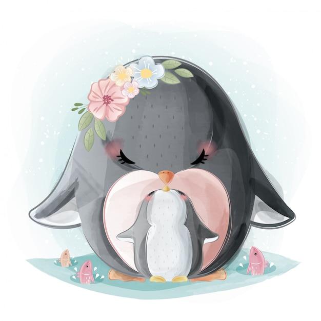 Maman mignonne et bébé pingouin Vecteur Premium