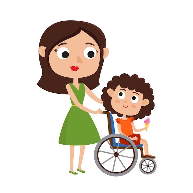 Maman Et Souriante Petite Fille En Fauteuil Roulant Vecteur Premium