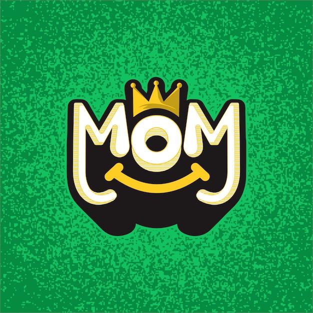 Maman texte mignon vecteur étonnant Vecteur Premium