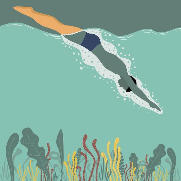 Man baignade sur la mer Vecteur gratuit