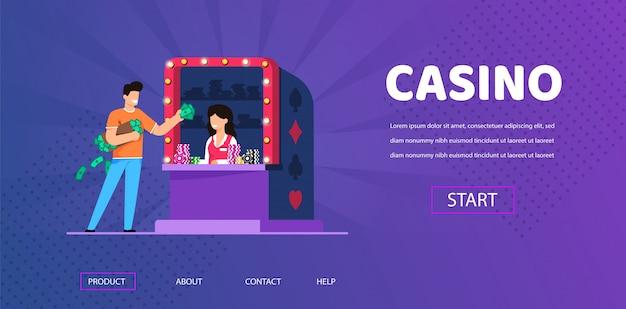 Man cash money achetez des jetons de casino chez woman cashier Vecteur Premium