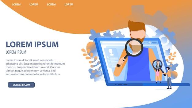 Man character search opportunité de croissance de carrière Vecteur Premium