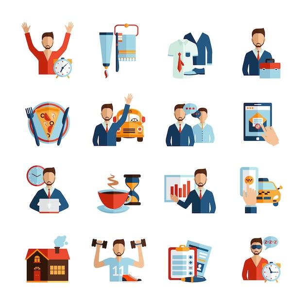 Man daily routine icons Vecteur gratuit