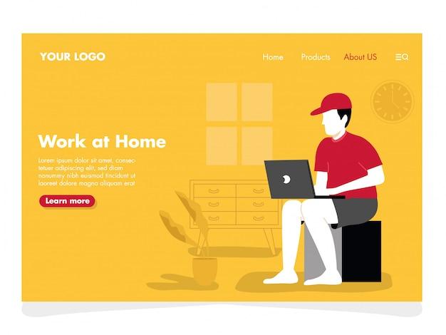 Man freelance illustration pour landing page Vecteur Premium