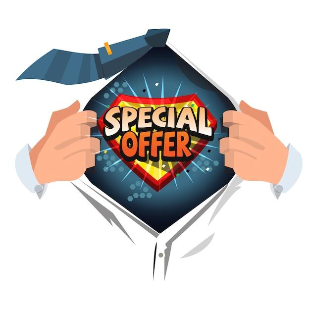 Man ouvert chemise pour montrer offre spéciale Vecteur Premium