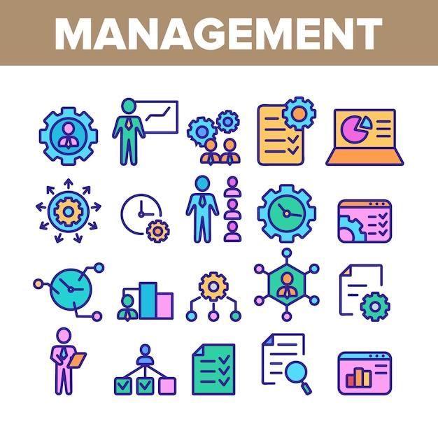 Management collection elements icons set Vecteur Premium