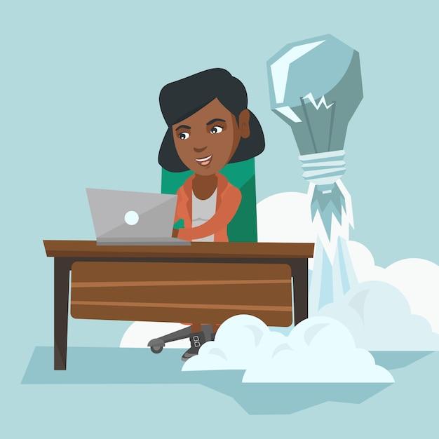 Manager Africain Travaillant Sur Une Nouvelle Idée D'entreprise. Vecteur Premium