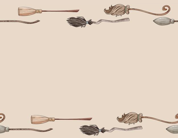 Manche à Balai Mignon Doodles Format Lettre Modèle Sans Couture. Fond De Balais Magiques Décoration Halloween Vecteur Premium