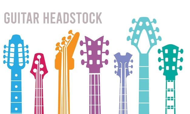 Manche De Guitare. Silhouettes D'instruments De Musique Collection De Symboles De Guitare Rock. Illustration De La Musique Guitare électrique Vecteur Premium