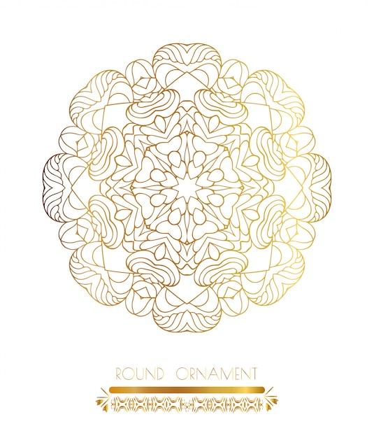Mandala art doré Vecteur Premium