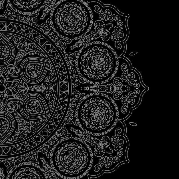 Mandala blanc délicat style boho sur fond noir Vecteur Premium