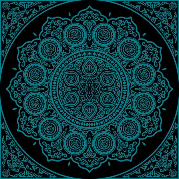 Mandala bleu est - ornement rond Vecteur Premium