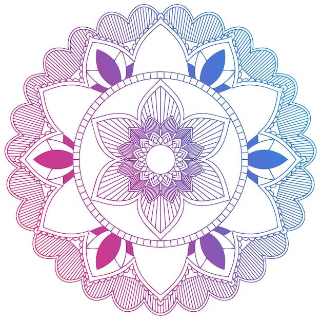 Mandala bleu et fleur rouge Vecteur gratuit