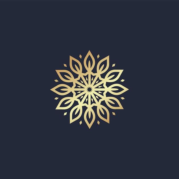 Mandala de cercle avec logo ligne feuille Vecteur Premium