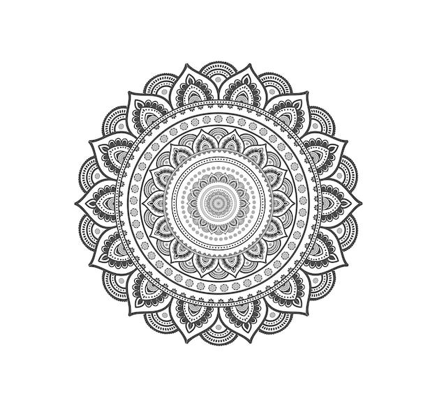 Mandala circulaire isolé pour le henné ou le tatouage Vecteur Premium