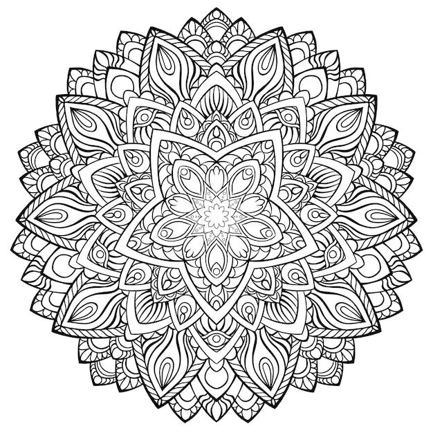 Mandala circulaire pour le henné, mehndi, tatouage, décoration. ornement décoratif dans le style ethnique oriental. page de livre de coloriage. Vecteur Premium